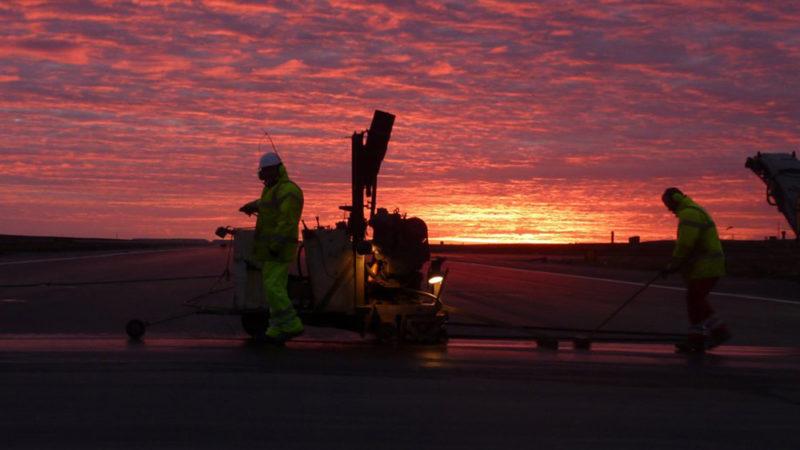 runway repairs at night
