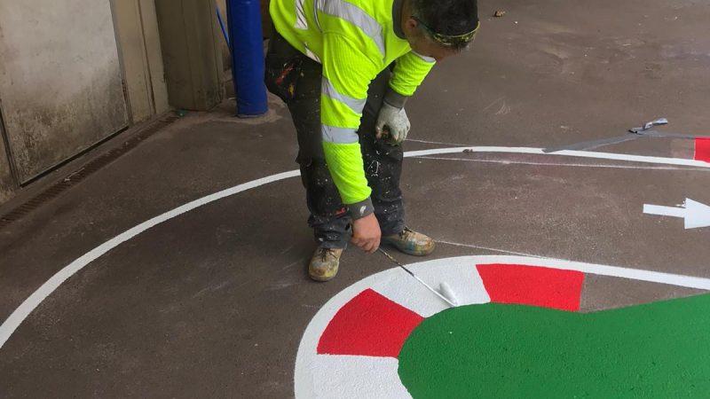 Race track for children floor marking