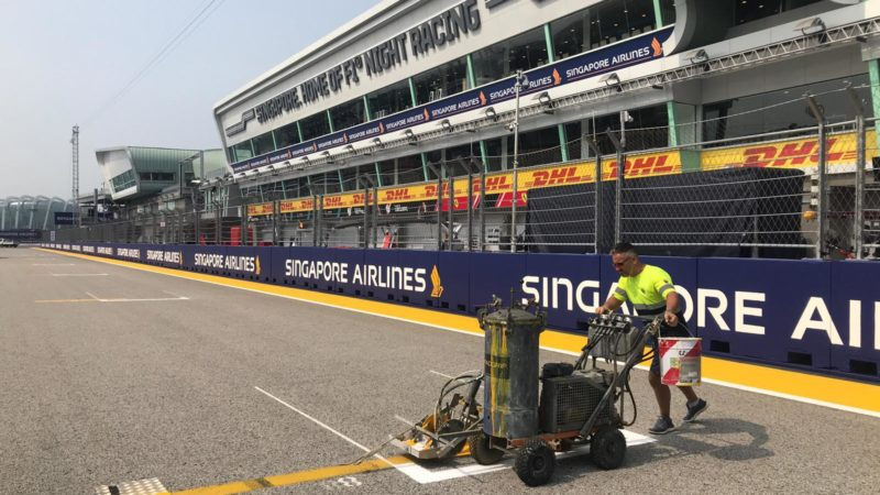 how are track markings applied Singapore F1