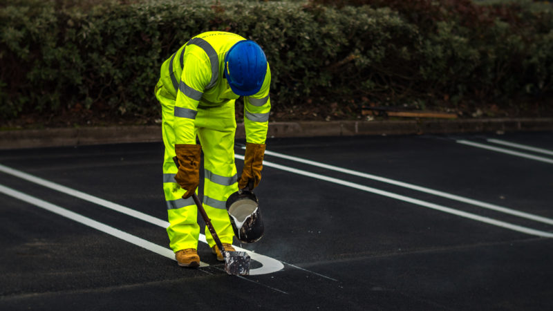 road marking by hand