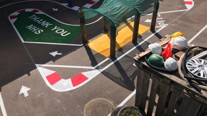 nursery area pretend race track