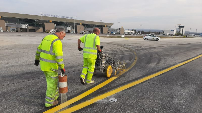 reflective line marking airfield painting