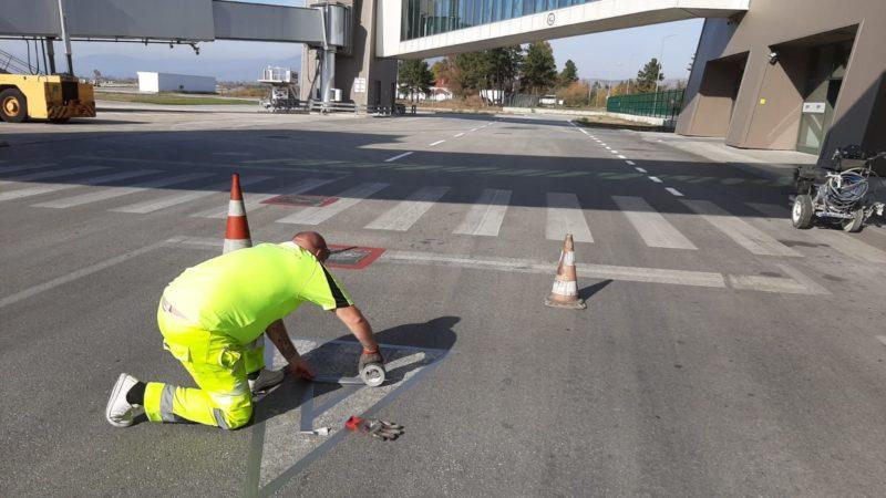 skopje runway marking preparation